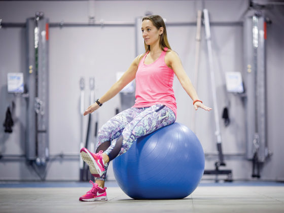 20 seconds seated ball leg lift
