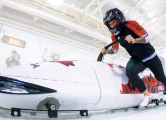 Kaillie Humphries pushes her sled