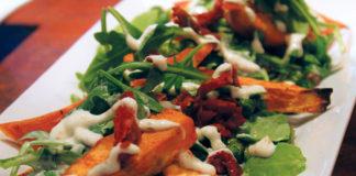 Roasted yam and chickpea insalata