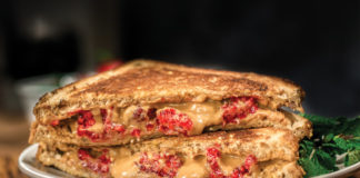 Grilled Peanut Butter and Raspberry Sandwich