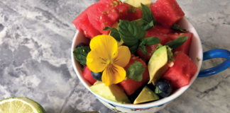 Spearmint and Pansy Watermelon Salad