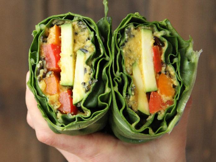 Wild Rice and Hummus Collard Wraps