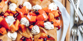 Vegan Crepes with Persimmon and Cashew Whipped Cream