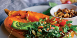 Avocado Salad and Baked Butternut Squash