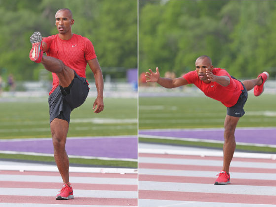 Left: high kick to inverted reach; right: hip shift down and back