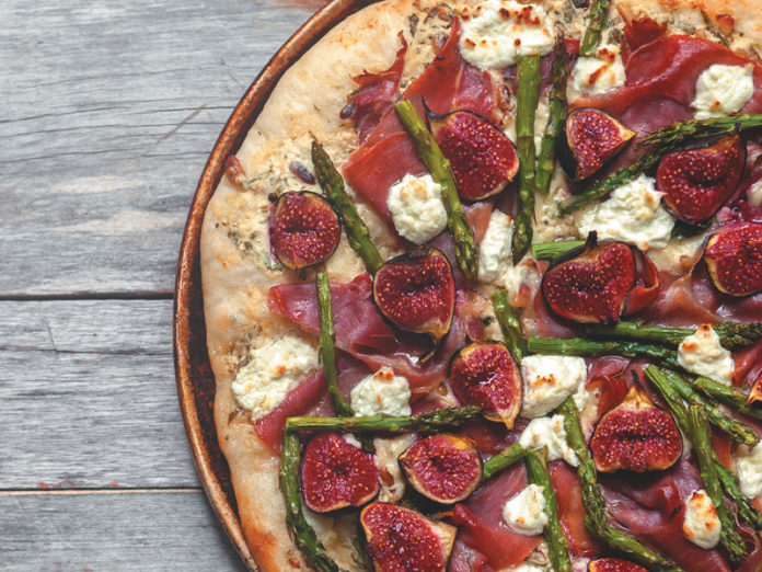 Three-Cheese Pizza with Asparagus