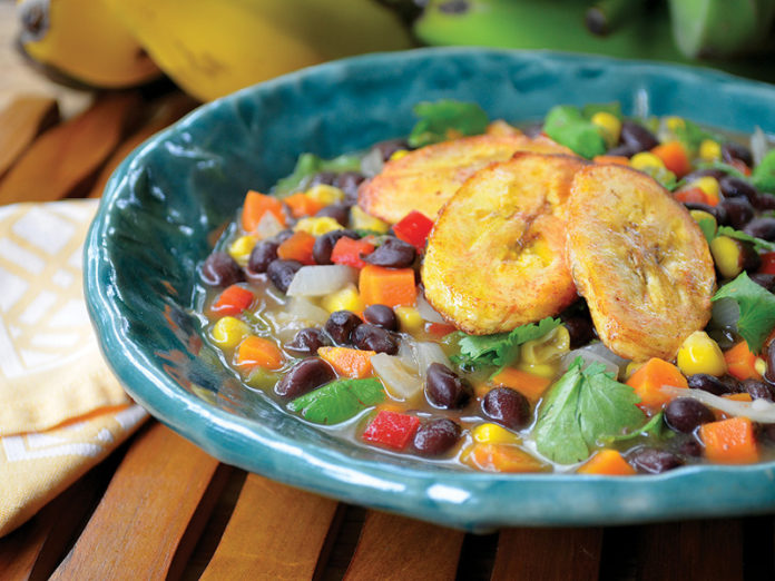 Brazilian Black Bean Soup with Baked Plantain