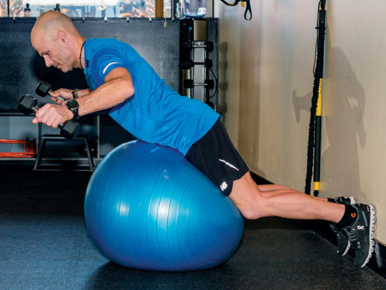 Hip extension with dumbbell fly