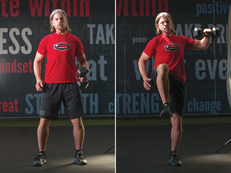 Lateral lunge to lateral raise