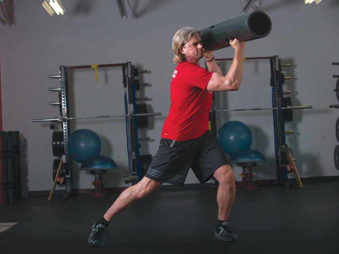 ViPR lateral squat with chop to bazooka hold