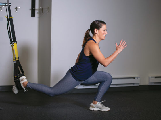 Suspension Double Lunge to Burpee with a Push-up