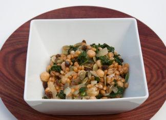 Warm Kale, Spelt and Chickpea Salad