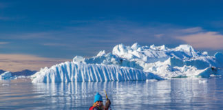 Debra Corbeil kayaking in Antarctica