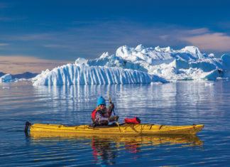 Debra Corbeil kayaking in Antarctica