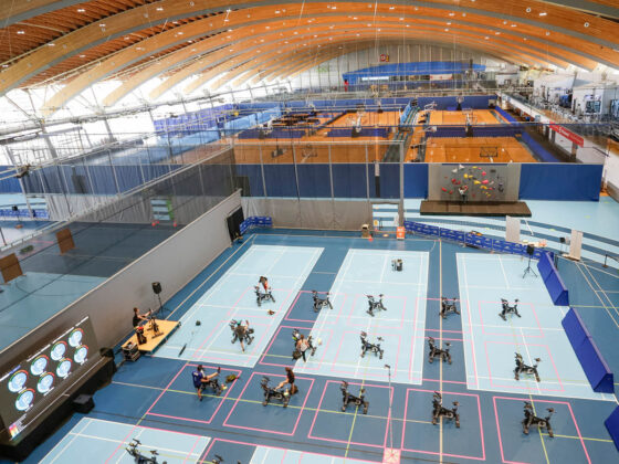 Social distancing from above for spin class at the Richmond Olympic Oval