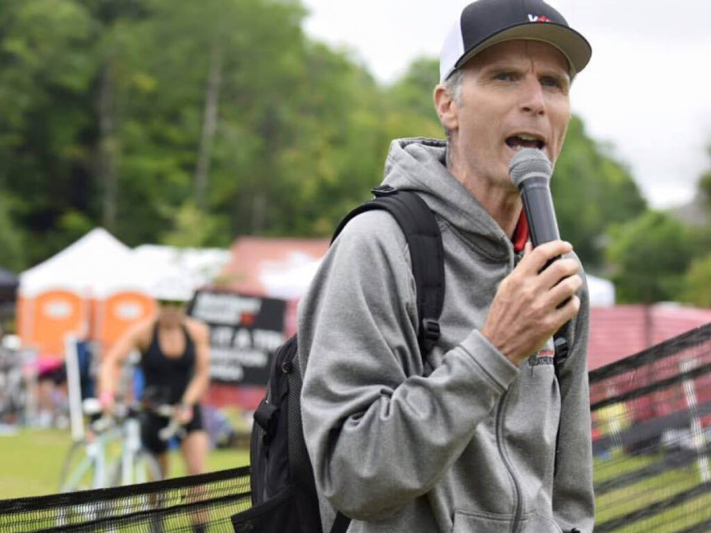 Steve Fleck announcing at a race event