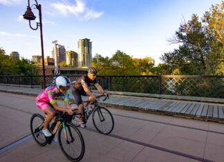 Nancy Lynch and Ed Rechnitzer Cycling