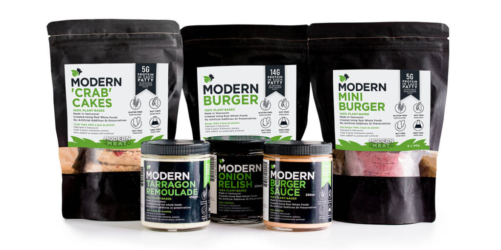 Modern Meat Plant-Based Burgers, Crab Cakes & Sauces