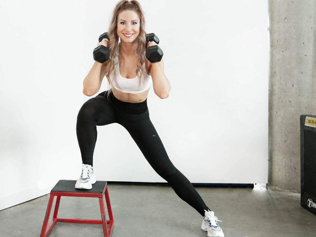 Elevated Lateral Lunge with OverHead Press