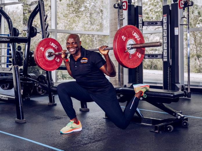 Philip Ndugga, performing a Bulgarian split squats