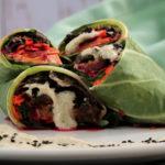 Kimchi Collard Parcels with Sesame Mushroom Stuffing & Smoky Fermented Cilantro Cream