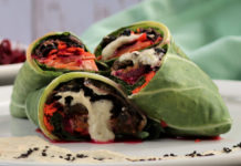 Kimchi Collard Parcels with Sesame Mushroom Stuffing & Smoky Fermented Cilantro Cream
