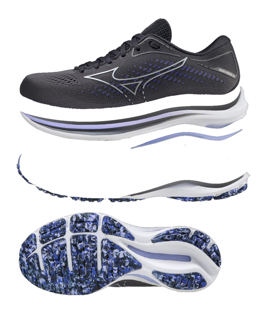 This image has an empty alt attribute; its file name is MizunoWaveRider25-Shoe-875x1024.png